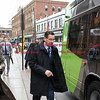 032817  Wesley Bunnell | Staff<br /> <br /> Governor Dannel Malloy marked the 2nd anniversary of CT Fastrak on March 28, 2017. The governor rode from Union Station in Hartford to Elmwood Station in West Hartford where a ceremony was held at the adjacent 616 New Park which is under construction as a mixed use transit-oriented development project. Governor Malloy is shown boarding at Union Station.