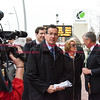032817  Wesley Bunnell | Staff<br /> <br /> Governor Dannel Malloy marked the 2nd anniversary of CT Fastrak on March 28, 2017. The governor rode from Union Station in Hartford to Elmwood Station in West Hartford where a ceremony was held at the adjacent 616 New Park which is under construction as a mixed use transit-oriented development project. Governor Malloy arrives at Elmwood Station.