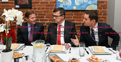 033117  Wesley Bunnell | Staff  Polish Ambassador Piotr Wilczek visited New Britain's Little Poland section on Friday March 31, 2017 to celebrate the opening of an honorary Polish Consul in the city. From left Congresswoman Elizabeth Esty, Senator Richard Blumenthal, Ambassador Piotr Wilczek and newly appointed honorary Consul Darek Barcikowski sit down for lunch at Belvedere Restaurant.