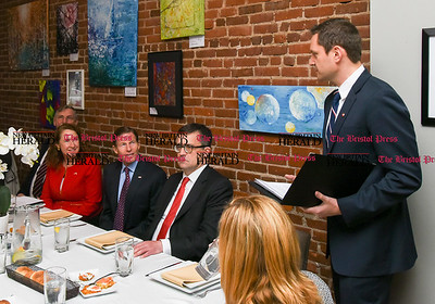 033117  Wesley Bunnell | Staff  Polish Ambassador Piotr Wilczek visited New Britain's Little Poland section on Friday March 31, 2017 to celebrate the opening of an honorary Polish Consul in the city. From left Congresswoman Elizabeth Esty, Senator Richard Blumenthal, Ambassador Piotr Wilczek listen as newly appointed honorary Consul Darek Barcikowski speaks before lunch at Belvedere Restaurant.