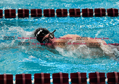 3/4/2017 Mike Orazzi | Staff Bristol swim team member Jacob Roloff during the CCC Swimming Championship held at Bulkeley High School in Hartford Saturday.