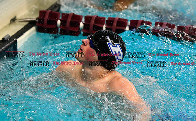 3/4/2017 Mike Orazzi | Staff Plainville High School swim team member Graham Eyres during the CCC Swimming Championship held at Bulkeley High School in Hartford Saturday.