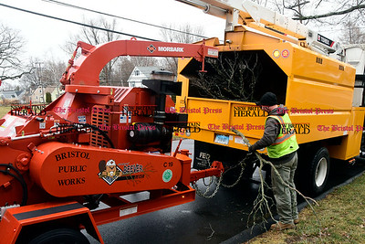 3/7/2017 Mike Orazzi | Staff Bristol Public Works employees clean up a fallen tree limb at the intersection of Cypress Street and Burlington Road Tuesday afternoon.