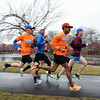 030717  Wesley Bunnell | Staff<br /> <br /> Julio Arredondo , second from the front, along with teammates from CCSU's Track & Field team perform speed play running exercises at Stanley Quarter Park on Tuesday March 7.