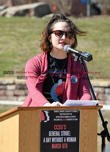 030817  Wesley Bunnell | Staff  A rally was held on CCSU's campus in solidarity with the International Women's Strike at noon on Wed March 8. Chairperson of the event Amy Frances Tenenbaum speaks to the crowd at the beginning of the rally. Tenenbaum is a major in the Women, Gender & Sexuality Studies Program.