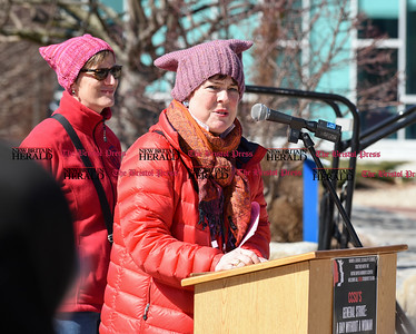 030817  Wesley Bunnell | Staff  A rally was held on CCSU's campus in solidarity with the International Women's Strike at noon on Wed March 8. At the podium is Dr. Karen A. Ritzenhoff with Dr. Heather Munro Prescott to the left. Both are co-coordinators of the Women, Gender & Sexuality Studies Program at CCSU which co-sponsored the event.