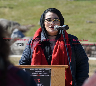 030817  Wesley Bunnell | Staff  A rally was held on CCSU's campus in solidarity with the International Women's Strike at noon on Wed March 8. Former President of the Muslim Student Association Salsabil Luzeri was one of several speakers.