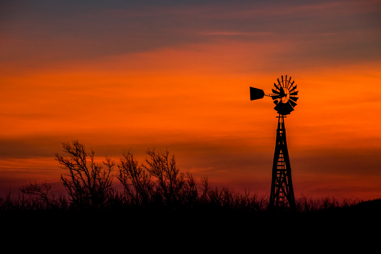 Wooden Windmill Sunrise, Roberts County