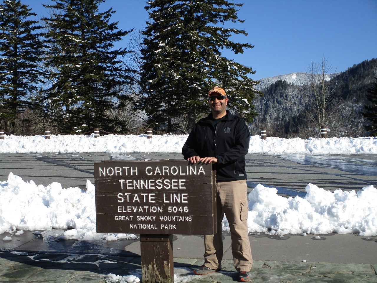 Me.  Newfound Gap.  5046 feet.  Great Smoky Mountain National Park.  State line.  I was there.
