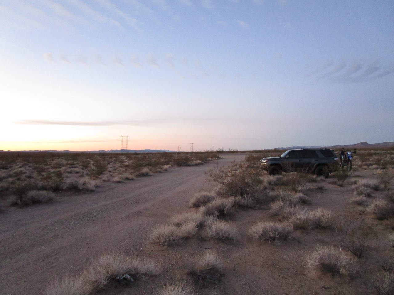 "This was my ""camp"" at the end of day 1, which saw me just inside the Arizona border from California.  I got off I-40 and drove into the desert, and went to sleep.  I took this shot the next morning as I was urinating."