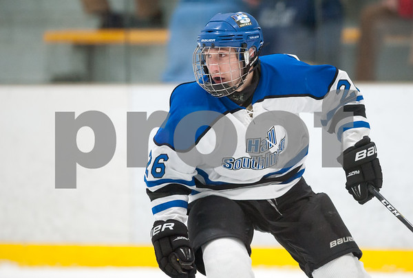 03/01/18 Wesley Bunnell | Staff Hall-Southington defeated EO Smith-Tolland 4-3 in the CCC South semi-final game on Thursday at Veterans Memorial Rink in West Hartford. Anthony Abbatiello (26).
