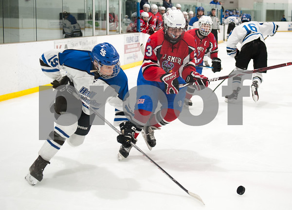 03/01/18 Wesley Bunnell | Staff Hall-Southington defeated EO Smith-Tolland 4-3 in the CCC South semi-final game on Thursday at Veterans Memorial Rink in West Hartford. Jacob Mohr (19).