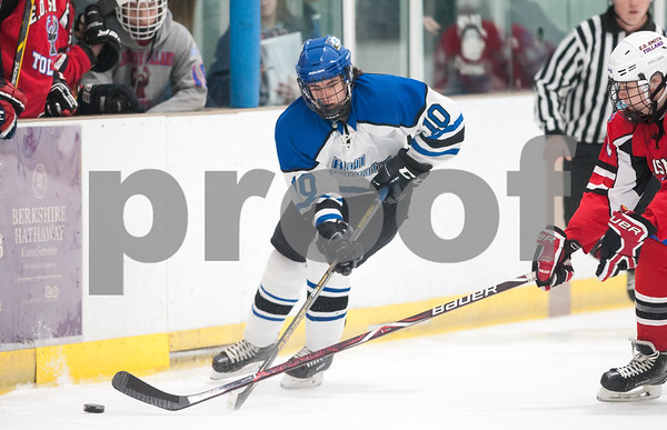 03/01/18 Wesley Bunnell | Staff Hall-Southington defeated EO Smith-Tolland 4-3 in the CCC South semi-final game on Thursday at Veterans Memorial Rink in West Hartford. Michael DiPietro (10).