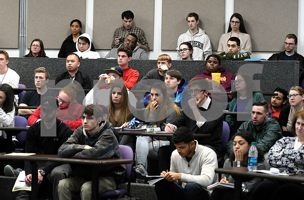 2/28/2018 Mike Orazzi | Staff Tunxis Professor James Schlater leads a discussion about the opioid crisis, as part of the college's Civic Engagement Institute's series of free public events.