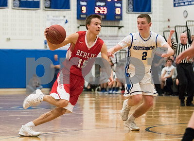 03/05/18  Wesley Bunnell | Staff  Southington basketball defeated Berlin on Monday night at Southington High School in a first round state tournament game. Holden Murphy (15)