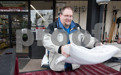 03/12/18  Wesley Bunnell | Staff  Customer Wane Nokes buys three bags of pellets for his wood stove at City True Value Hardware in Bristol on Monday afternoon in preparation for the upcoming storm. Snow supplies are in short supply after a big rush before last weeks nor'easter.