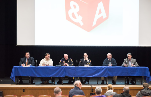 03/19/18 Wesley Bunnell | Staff Berlin held a school security safety meeting on Monday night at Berlin High School which was open to the public. Representatives from the town, police and fire departments gave an overview of their current responsibilities as well as planned changes while later answering questions from the audience. Board of Education Superintendent Brian Benigni, Board of Education President Matthew Tencza, Police Chief John Klett, Deputy Fire Marshal/Director of Emergency Management Matt Odishoo, Town Manager Jack Healy and Mayor Mark Kaczynski.
