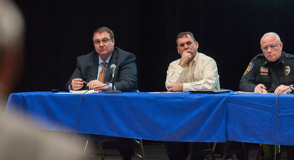03/19/18  Wesley Bunnell | Staff  Berlin held a school security safety meeting on Monday night at Berlin High School which was open to the public. Representatives from the town, police and fire departments gave an overview of their current responsibilities as well as planned changes while later answering questions from the audience. Board of Education Superintendent Brian Benigni, Board of Education President Matthew Tencza, Police Chief John Klett listen to an audience member towards the end of meeting.
