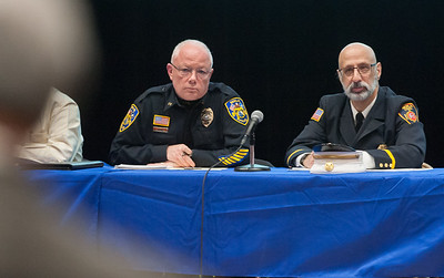 03/19/18  Wesley Bunnell | Staff  Berlin held a school security safety meeting on Monday night at Berlin High School which was open to the public. Representatives from the town, police and fire departments gave an overview of their current responsibilities as well as planned changes while later answering questions from the audience. Police Chief John Klett and Deputy Fire Marshal/Director of Emergency Management Matt Odishoo listen to concerns from an audience member.