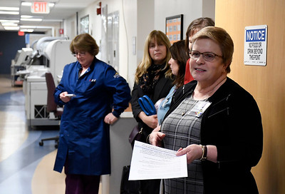 3/29/2018 Mike Orazzi | Staff Bristol Hospital's Cindy Dubowsky talks about a new blood processing machine.