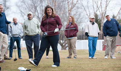 03/29/18  Wesley Bunnell | Staff  Mayor Erin Stewart smiles after hitting the ball down the middle of the fairway on the opening tee shot on the first tee on opening day at Stanley Golf Course on Thursday morning.