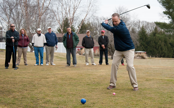 03/29/18 Wesley Bunnell | Staff Head Golf Professional Kyle Hedstrom tees off on opening day at Stanley Golf Course on Thursday morning.