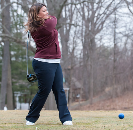 03/29/18 Wesley Bunnell | Staff Mayor Erin Stewart tees off with the ceremonial first ball on the first tee on opening day at Stanley Golf Course on Thursday morning.