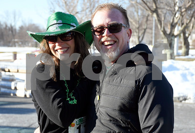 3/17/2018 Mike Orazzi | Staff Kelli Kozaryn and Steve LeBlanc during the 16th Annual Shamrock Run and Walk held at the Chippens Hill Middle School Saturday morning.