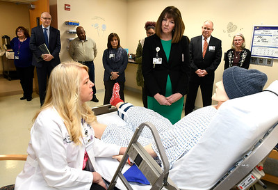 3/22/2018 Mike Orazzi | Staff Bristol Hospital's Jeannie Robbins and Nancy LaMonica during interview a mannequin during a ribbon cutting event for its new nursing simulation room on Level B of the hospital's Center for Surgery and Endoscopy.