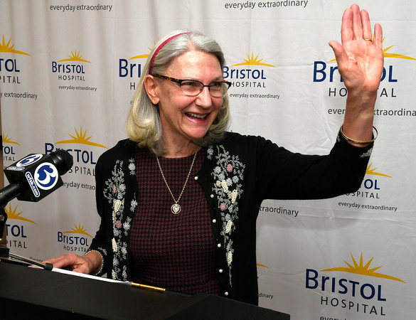 3/22/2018 Mike Orazzi | Staff Mary Ann Cordeau, PhD, RN—Bristol Hospital board member and associate professor, Quinnipiac School of Nursing during a ribbon cutting event for its new nursing simulation room on Level B of the hospital's Center for Surgery and Endoscopy.
