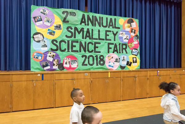03/27/18 Wesley Bunnell | Staff Children filter into the gymnasium for the 2nd Annual Smalley Academy Science Fair on Tuesday morning featuring science exhibits by all grades.