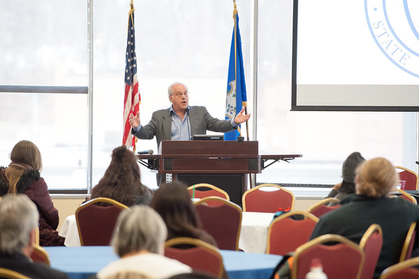 03/28/18 Wesley Bunnell | Staff CCSU-AAUP held a panel on Wednesday afternoon regarding the attacks on education and efforts to fight back titled Save Our Schools, Defend Our Communities. Professor Richard Wolff of The New School University in New York City who hosts a weekly radio program Economic Update on WBAI 99.5 FM speaks to a crowd of professionals and students.