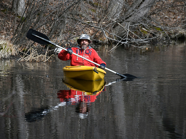 3/27/2018 Mike Orazzi   Staff Dan Caron while out on Birge Pond in Bristol Tuesday.