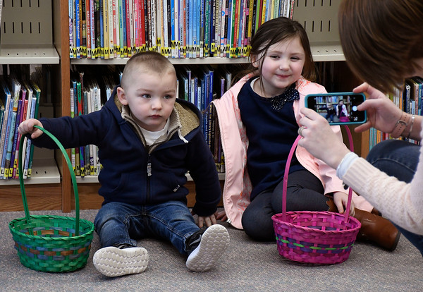 3/31/2018 Mike Orazzi | Staff R.J.,2 and Riley Michaud,4, at the Manross Library Easter Egg hunt on Saturday in Bristol.