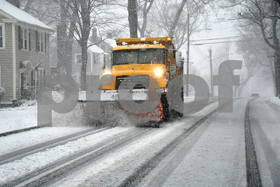 3/8/2018 Mike Orazzi   Staff A city snowplow on Oakland Street during Wednesday's storm in Bristol.