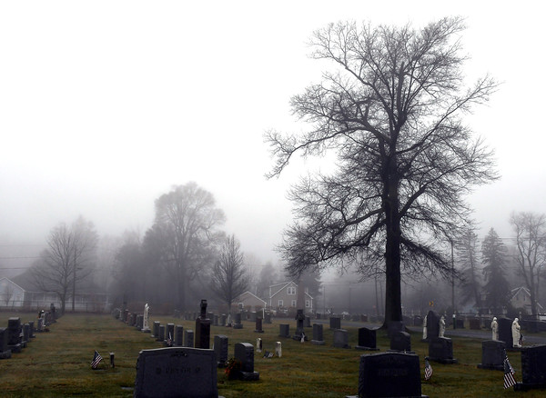 4/4/2018 Mike Orazzi | Staff Fog at the St. Joseph Cemetery in Bristol Wednesday afternoon.
