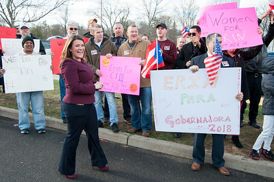 04/04/18  Wesley Bunnell | Staff  New Britain Mayor Erin Stewart smiles as she speaks to her supporters outside of New Britain High School before the CT GOP held their 4th gubernatorial debate of the season as approximately 3 dozen of her supporters hold signs and chant in her support.  Mayor Stewart was unable to speak at the event for not reaching the minimum funds required to participate.