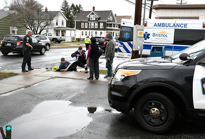 4/4/2018 Mike Orazzi | Staff The scene of a motor vehicle vs pedestrian at the  intersection of Park and Tulip Streets in Bristol Wednesday.