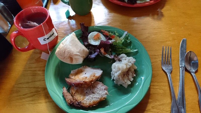 A green plastic plate contains roast, potatoes, salad, and a roll, next to cutlery and a red cup of tea