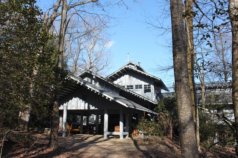 backcountry lodge made of blue tinged wood, Len Foote Hike Inn
