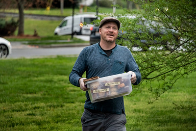 Tim Helfrich brings in a supply of Summit pastries to add to the Kindred milk bread doughnuts. (Bill Giduz photo)