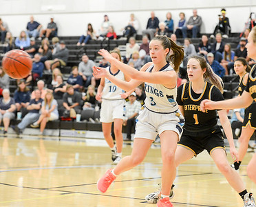 Pleasant Valley's Cassidy King fires a pass as Enterprise's Heather Alexander defends during the Northern Section Division III championship game at Butte College's Cowan Gym in Butte Valley. (Matt Bates -- Enterprise-Record)