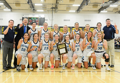 Pleasant Valley is all smiles after their 48-33 playoff victory over Enterprise on Friday, February 28, 2020, in Butte Valley, California. (Matt Bates -- Enterprise-Record)