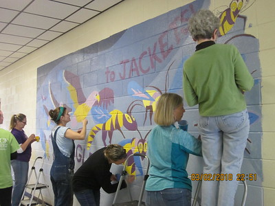 Painting the mural at TCES