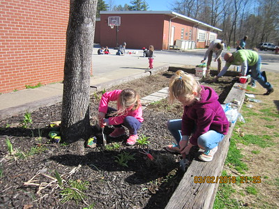 Weeding the flower bed at SES