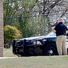 KEVIN HARVISON |<br /> Parker Intermidate School Assistant Principal Austin Maddox, left watches during the schools lockdown Thursday.