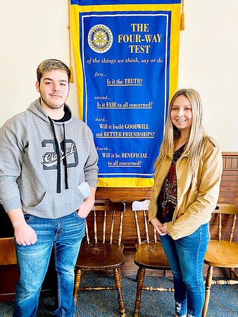 SUBMITTED PHOTO | <br /> McAlester Rotary Club has McAlester High School Seniors Erik Harper, left and Sarah Williams, right, as Rotary Club Students of the Week.
