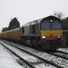 DRS 66427 heads 6L76 Stud Farm - Whitemoor Yd ballast past Norwood Rd LC, March on 19th Jan 2013