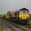 With a heavy shower just passed over, 66051 eases over Norwood Road LC, March with 6G01 Whitemoor - Sleaford on 11th May 2013