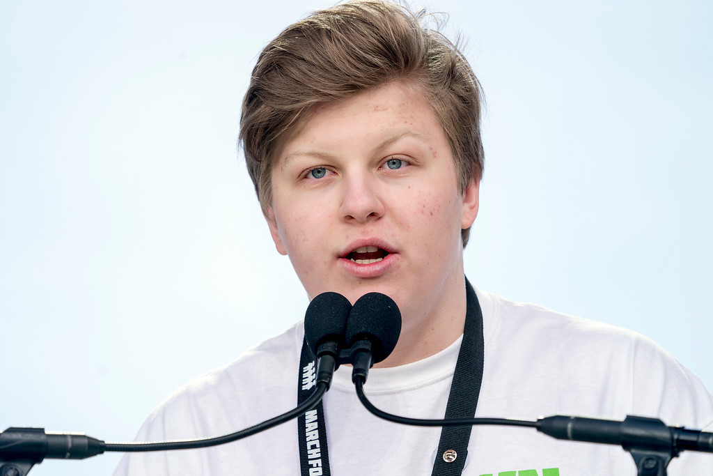 ". Newtown High School student Jackson Middleman speaks during the ""March for Our Lives\"" rally in support of gun control in Washington, Saturday, March 24, 2018. (AP Photo/Andrew Harnik)"